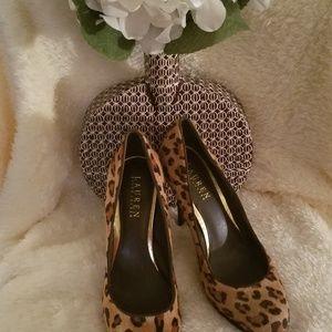 Ralph Lauren Lailee Leopard Print Calf hair Platfo